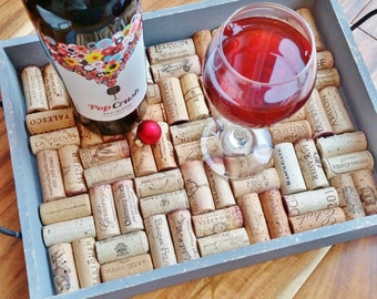 Rustic Wooden Wine Cork Serving Tray featuring 70 Wineries READY TO SHIP- Christmas Housewarming, Wedding, Engagement, Napa Valley