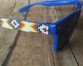 Navy blue Tribal beaded sunglasses