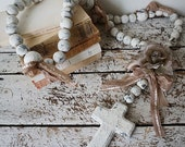 Huge clay stone rosary French Santos style Nordic white distressed handmade beaded large crucifix wall hanging home decor anita spero design