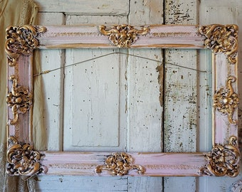 Pink painted picture frame wall hanging wood gesso ornate shabby cottage chic accented gold distressed aged home decor anita spero design