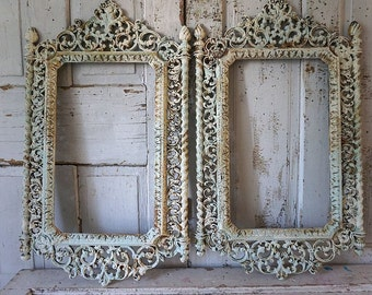 Ornate painted Frame grouping wall hanging shabby cottage chic set of frames robin egg, white and a distressed home decor anita spero design