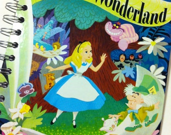 Alice in Wonderland Little Golden Book OR Other LGB Recycled Recipe Notebook