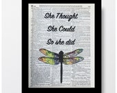 Dragonfly Art, Inspiration Quotes, Colorful Dragonfly Print, Dictioanry Page Prints, Dictioanry Art, Dragonflies, Colorful Dragonflies