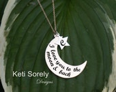10K, 14K or 18K or Sterling Silver - Moon & Star Message Pendant with Initials - Yellow, Rose or White Gold