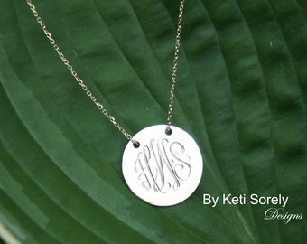 Hand Engraved Monogram Disc Necklace-Small to Large Sizes- (Engrave Your Initials) - Sterling Silver, Yellow or Rose Gold