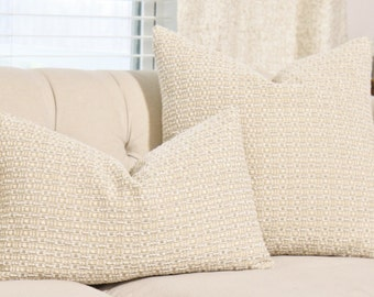 Nuetral Pillow Cover -Creme Gray Ivory Woven Chenille Pillow - Light Gold Throw Pillow - Designer Beige Grey Pillow - Soft Pillow Cover