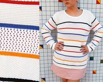 GO Striped Knit LIZsport White Sweater