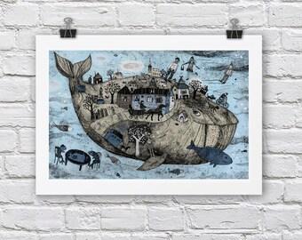 Blue Whale print / A4 / A3 Signed Inkjet Fine Art Print / sea ocean scene