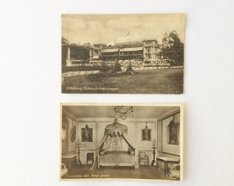 Two Vintage Swedish Photo Postcards Garden Society of Gothenburg and Gripsholm Castle, Sepia Postcards
