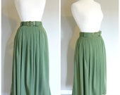 Vintage ARMY GREEN FATIGUE Skirt/Belted Maxi Skirt/Size Medium-Large