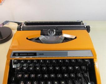 Vintage Manual Typewriter SILVER-REED SEIKO 100 with Hard Case Bright Orange color  Working Typewriter