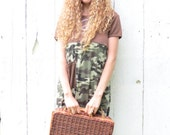 Peaceful Hippie Dress - side slit camo skirt - brown womens camouflage maxi dress - upcycled clothing for women size Med-Large military