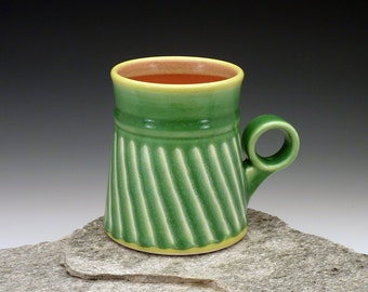 """Excellent Christmas gift. 12 oz. Green and red mug with white stripes and ergonomic finger """"ring"""" handle. ceramic mug. Pottery"""