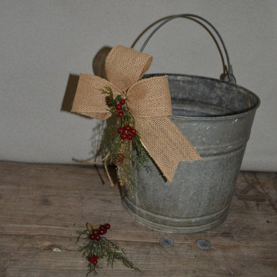 Farmhouse christmas bucket galvanized metal bucket by for Christmas tin pails
