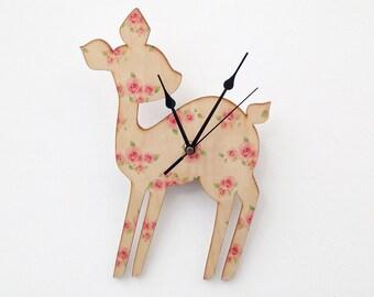Vintage Floral Deer Clock