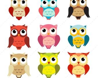 Owl Clip art, Owls Digital Owl clipart, Scrapbook Supplies, Cute Owls Graphic, Colorful Owls, Owl, Clip Art - Instant Download
