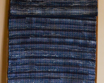 "Hand Woven Rag Rug - Denim Runner with Blue Hemmed Edge - 22"" x 62"""