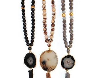 Druzy Agate Slice Beaded Leather Tassel Necklace - Tassel Necklace - Agate Necklace - Boho Jewelry - Beaded Necklace - Black - Brown - Grey