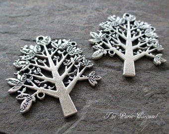 silver toned tree pendants leaf leaves branch mother family jewelry supply component, 1 pair