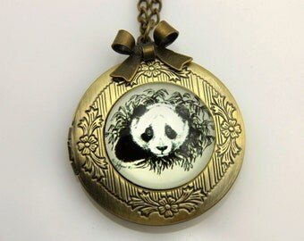 Necklace locket panda