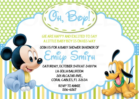 disney baby mickey mouse inspired baby shower or birthday printable