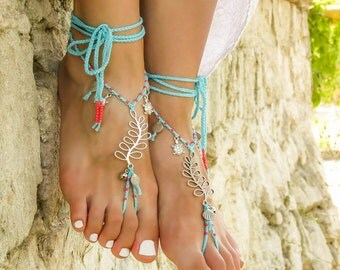 Barefoot sandals Beach wedding Turquoise bottomless sandals with tiny bells and sealife beads Foot jewelry barefoot sandal Beach toe anklet