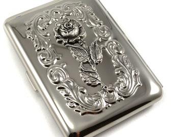Rose Cigarette Case Metal Wallet Business Card Case Gothic Victorian