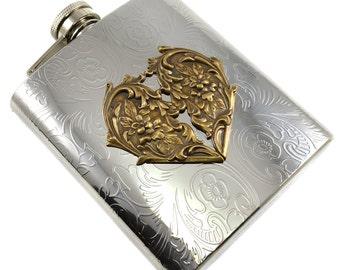 Heart Flask,  Heart Flasks for Women, Flasks for Girlfriend, Victorian Heart Flask, Valentines Heart Flask, Garter Heart Flask, Silver