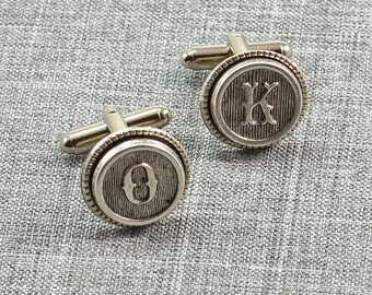 Initial Cufflinks, Cuff Links, Antique Silver Typewriter Custom Wedding Groomsman Father