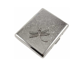Dragonfly Cigarette Silver Case Metal Business Card Case Wallet