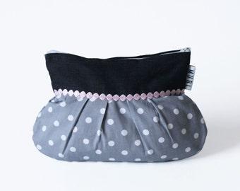 Cosmetic bag handmade fabric make-up bag gray blue dotted dots ribbon