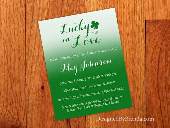 Ombre Lucky In Love Wedding Shower Invitation Modern