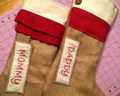 Rustic Stockings - Red and White - Personalized Custom Burlap Stockings - Burlap Christmas Stockings