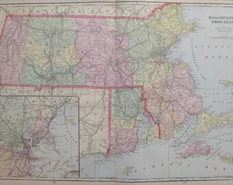 Antique MASSACHUSETTS Map RHODE ISLAND Map 1908 Travel Map Gallery Wall Art 6707