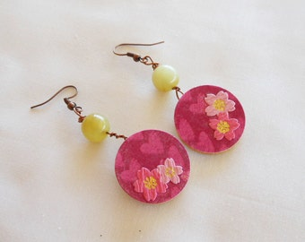 Japanese Earrings - Chiyogami Paper - Yuzen Paper - Japanese Paper - Lightweight Earrings - Japanese Jewelry - Round Dangle Earrings