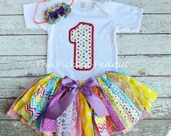 Rainbow Birthday Outfit Birthday Tutu 1st Birthday Girls Birthday Outfit Rainbow Baby Tutu Shabby Chic Birthday Fabric Tutu Baby Girl Skirt