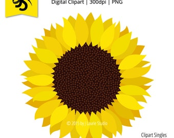 Digital Clipart-Clipart Singles-Sunflower-Yellow Flower-Graphics-Image-Digital Scrapbook Element-PNG-Instant Download Clip Art