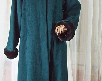 Teal wool blend and faux fur ankle length coat. American made. 1990s