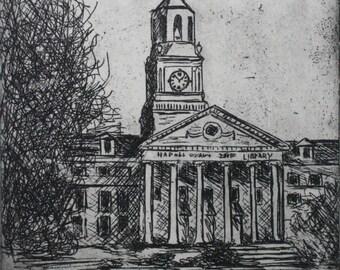 Original Etching of Samford University Library