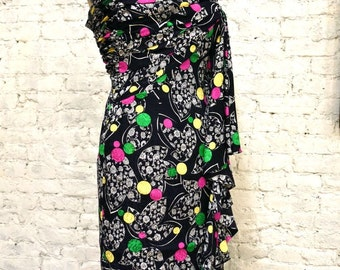 80s Aseret One-Shoulder Silk Print Dress