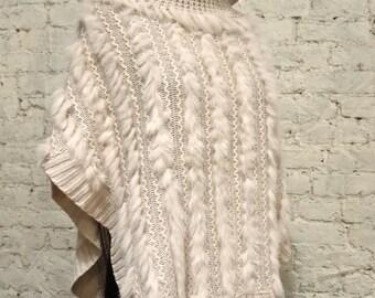 70s Wool and Angora Cowl Neck Poncho
