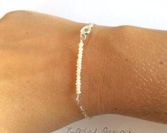 Pearl bracelet, silver bracelet, pearl, silver, minimal jewelry, thin bracelet, simple, elegant, delicate