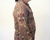 90s Turkish Shirt, Brown Abstract Print Shirt, Shell Buttons, Viscose Crepe Men's Shirt M L