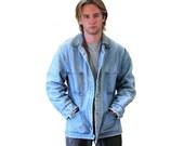 50s Carter's Denim Jacket, Workwear Barn Coat, Blanket Lined Distressed Jean Jacket Size L