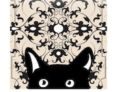 Cat Art Print, Black And White Art Print, Sweet Black Kitten, Vintage Pattern / 8X10 inches