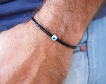 Evil Eye Bracelet - Mens Bracelet - Black Beaded Bracelet - Stretch Bracelet - Mens Bead Bracelet - Greek Mati Bracelet - Gift for Him