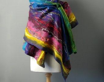 Nuno Felted scarf felt scarf felted shawl merino wool silk pink purple green blue multicolor rainbow winter wool scarf Made to Order