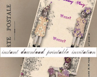 Printable Invitation - Victorienne's Birthday Party - Instant Download