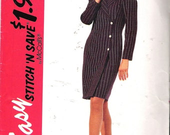 "Vintage 1994 McCall's 7204 Side Closing Dress Sewing Pattern Size A 8- 10- 12- 14 Bust 31 1/2"", 32 1/2"", 34"", 36"" UNCUT"