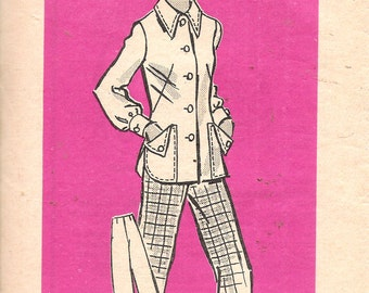 Vintage 1975 Anne Adams Mail Order 4824 Jacket & Pants Sewing Pattern Size 10 Bust 32 1/2""